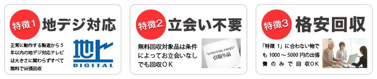 練馬区,杉並区,中野区,渋谷区,新宿区で当社が液晶テレビを無料回収する3つの特徴
